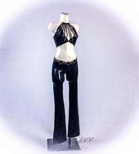 90s Iconic Black Shimmer Cut Out Two Piece Bell Bottoms and Crop Top Set // S