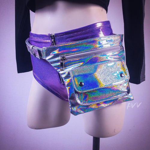 Unicorn Bae Holographic Rainbow Silver Fanny Pack Hip Belt Bag