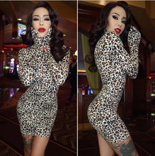 Load image into Gallery viewer, Meow Mix Leopard Print Turtleneck Mini Dress with Attached Gloves as seen on Raquel Reed XO