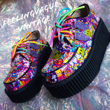 Load image into Gallery viewer, Custom Lisa Frank Sticker Collage Smiley Face Unicorn Glitter Mega Platform Wedge Hand Made 90's Sticker Art Creepers