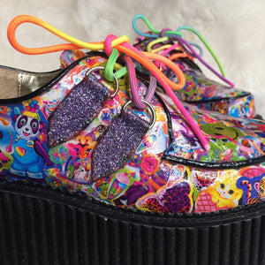Custom Lisa Frank Sticker Collage Smiley Face Unicorn Glitter Mega Platform Wedge Hand Made 90's Sticker Art Creepers
