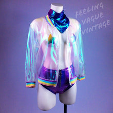 Load image into Gallery viewer, Sheer Iridescent Hologram Rainbow Unicorn Bomber Jacket Cover Up