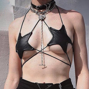 Seeing Stars - Star Shaped Wrap Halter Bikini Bra Top in Black or Reflective Silver