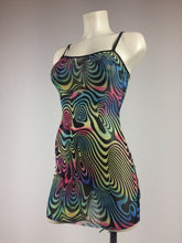 Load image into Gallery viewer, 90s Hypnotic Trippy Rainbow Fractal Swirls Micro Mesh Mini Dress