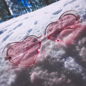 Be MINE Clear and Pink Heart Shape Sunglasses