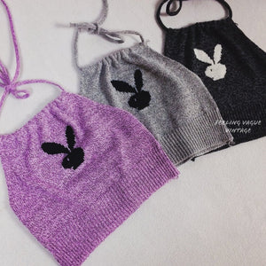 90's Y2K Playboy Bunny Knit Ribbed Sweater Halter Crop Top