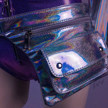 Load image into Gallery viewer, Unicorn Bae Holographic Rainbow Silver Fanny Pack Hip Belt Bag