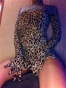 Meow Mix Leopard Print Turtleneck Mini Dress with Attached Gloves as seen on Raquel Reed XO