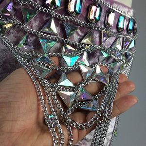 Diamond Doll Festival Hologram Iridescent Gem Chain Bra and Belt Fringe Playa Goddess Set