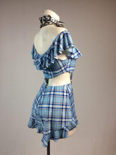 Load image into Gallery viewer, Dev0 Wevo Bunny Baby Ruffle Clueless Plaid Garter Romper Set in Sky Blue