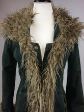 Load image into Gallery viewer, 90's does 70's Shaggy Faux Fur and Denim Rocker Maxi Boho Coat // M