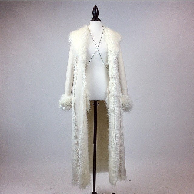 90's Festival Princess White Suede and Faux Fur Lined Maxi Floor Length Coat // M - L