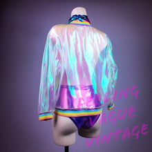 Load image into Gallery viewer, Sheer Iridescent Hologram Rainbow Unicorn Bomber Jacket Coverup