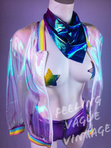 Sheer Iridescent Hologram Rainbow Unicorn Bomber Jacket Coverup