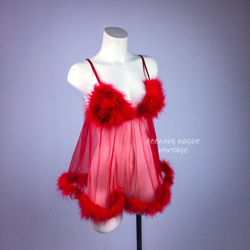 90's Clueless Feather Trim Red Babydoll Lingerie Mini Dress // S-L