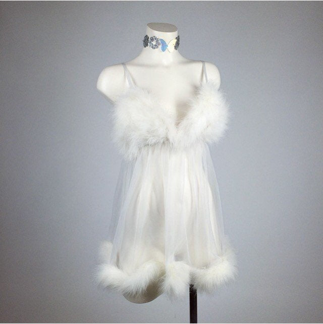 90's Clueless Feather Trim White Babydoll Lingerie Mini Dress // S-L