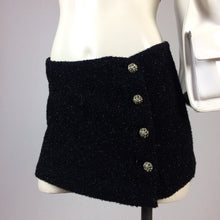 Load image into Gallery viewer, 90s TRASHY LINGERIE Fuzzy Glitter Gem Button Up Black Mini Skirt // S - M