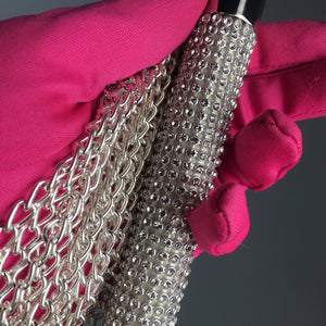 Glam Rhinestone Sparkle Crystal Silver Chain Whip Functional Bedroom and Play Accessory