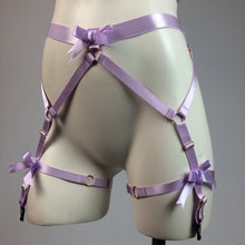 Load image into Gallery viewer, Pastel Lavender Bows Strappy Cage Garter Belt and Bra Body Harness Lingerie Set