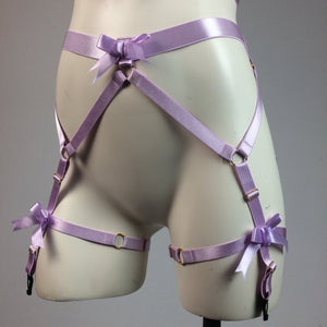 Pastel Lavender Bows Strappy Cage Garter Belt and Bra Body Harness Lingerie Set