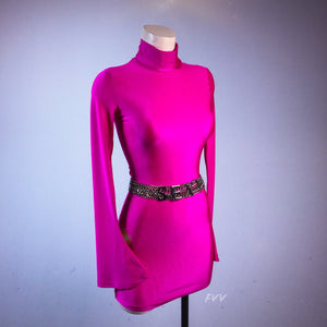 90's Hot Pink Mock Turtleneck Mini Dress with Flare Bell Sleeves