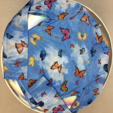 Load image into Gallery viewer, 90s Butterfly 2.0 Cloud Print Micro Mesh Long Sleeve Mock Neck Crop Top Shirt