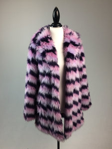90's Pastel Pinks and Purples Mixed Multi Colored Faux Fur Princess Jacket // S - M
