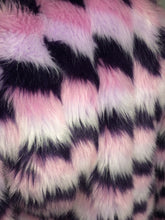 Load image into Gallery viewer, 90's Pastel Pinks and Purples Mixed Multi Colored Faux Fur Princess Jacket // S - M