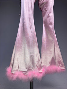 90's Pastel Pink Marabou Trim Feather Clueless Baby Spice Bell Bottom High Waisted Disco Flare Pants