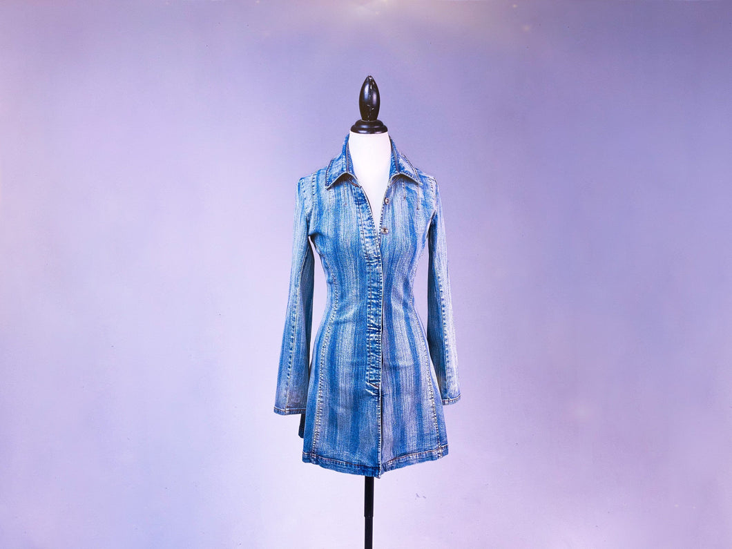 Y2K Denim Button Up Distressed Wash Jean Mini Long Sleeve Dress Jacket