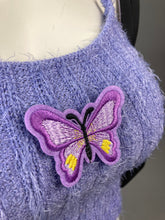 Load image into Gallery viewer, 90's Butterfly Chain Fuzzy Purple Tank Top