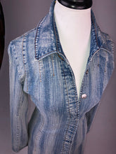 Load image into Gallery viewer, Y2K Denim Button Up Distressed Wash Jean Mini Long Sleeve Dress Jacket