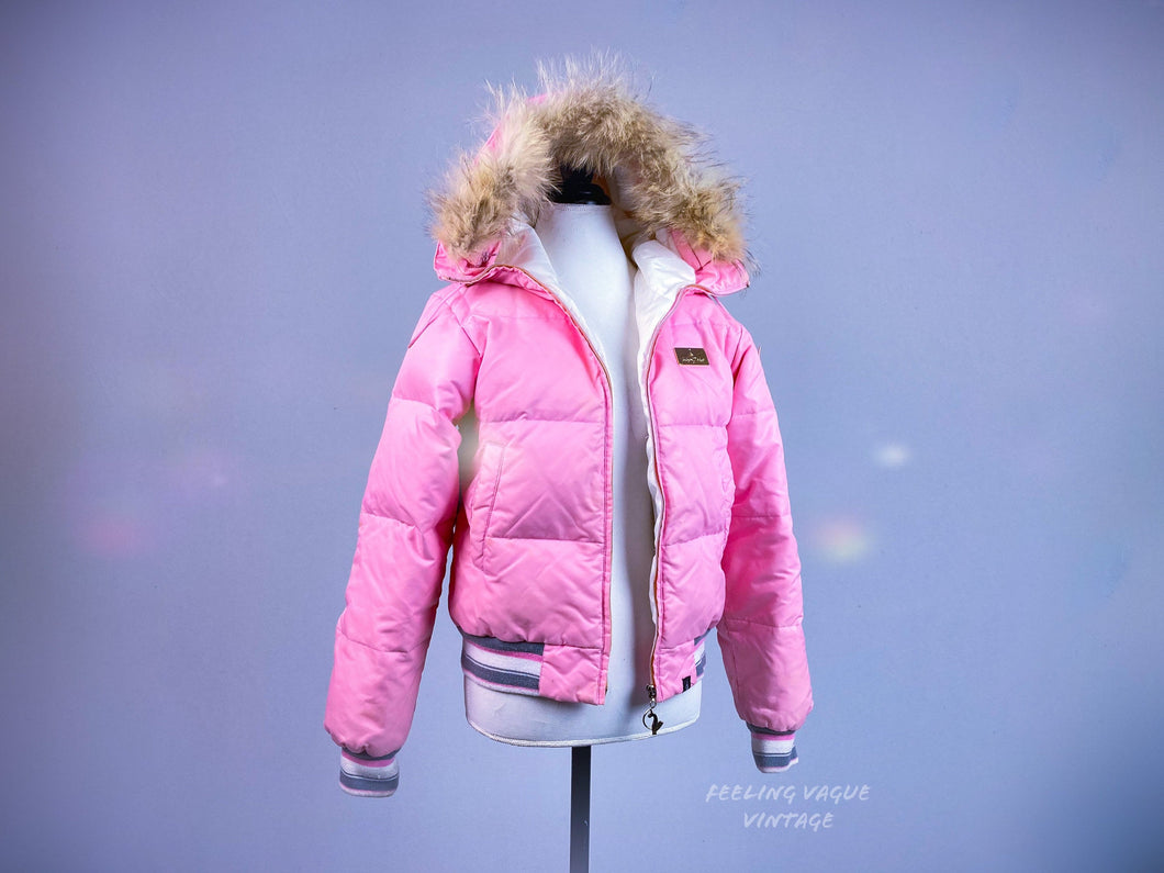 90's Baby Phat Bubblegum Pink Pastel Puffer Detachable Fur Hooded Bubble Jacket