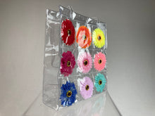 Load image into Gallery viewer, Daisy Flower Power Rainbow Clear VINYL Tote Purse Shopper Bag