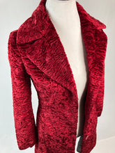 Load image into Gallery viewer, 90's Heartbreaker Red Teddy Fur Mid Length Faux Fur Pea Coat Jacket // XS - S
