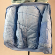 Load image into Gallery viewer, Vintage Embroidered Dragon Baby Blue Puffer Korea Souvenir Fur Lined Hood Bomber Jacket