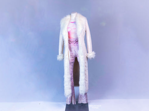90's Festival Princess White Suede and Faux Fur Lined Maxi Floor Length Coat // S