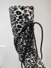 Load image into Gallery viewer, 90's Scary Spice Lace Up Furry Leopard Animal Print Platform Chunky Mid Calf Boots // 6