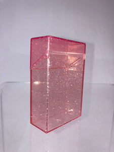 Bad Habitz ~ Pink Glitter Cigarette, Business Card or Wallet Acrylic Box Holder