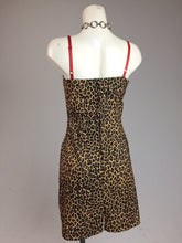 Load image into Gallery viewer, 90s Vintage Wet Seal Leopard Fitted Dress with Red Lace