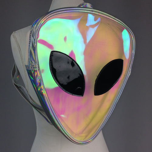 AREA 51 - 90's Clear Hologram Alien Face Vinyl Backpack