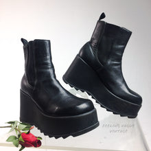 Load image into Gallery viewer, 90's Vintage Black Leather Platform Wedge Ankle Grunge Boots