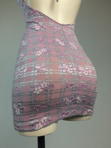90's Y2k vintage Trashy Lingerie Textured Gingham Floral Mini Halter Dress