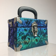 Load image into Gallery viewer, Vintage Iridescent Blue and Green Box Purse with Metal Hardware