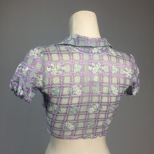 Load image into Gallery viewer, 90's Y2k vintage Trashy Lingerie Textured Gingham Floral Short Sleeve Cropped Tie Front Top with Collar