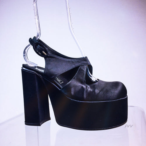 90s Black Satin Chunky Platform Heels with Ankle Strap by Ying E Yang // 9 - 9.5
