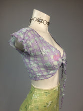 Load image into Gallery viewer, 90's Y2k vintage Trashy Lingerie Textured Gingham Floral Short Sleeve Cropped Tie Front Top