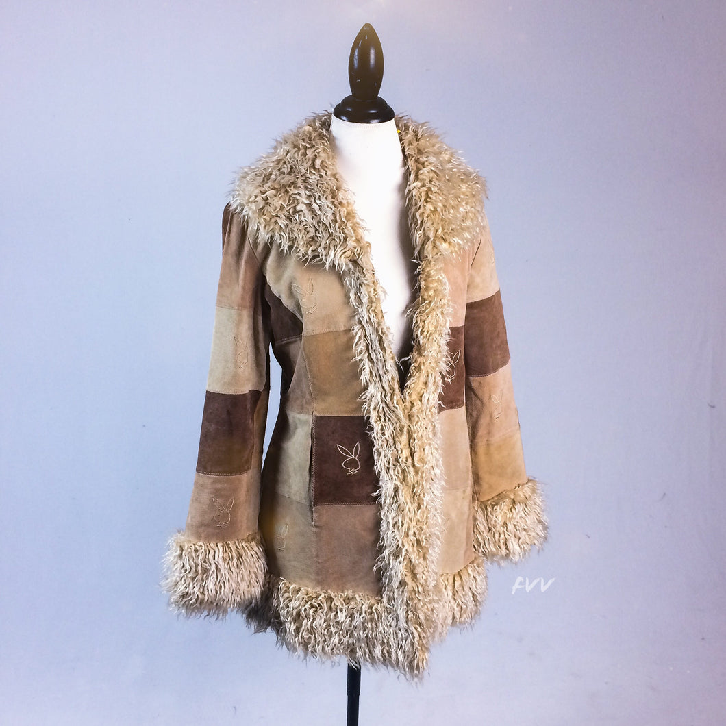 Vintage Embroidered Playboy Patchwork Coat with Faux Fur Trim Size L