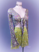 Load image into Gallery viewer, 90's Y2k vintage Trashy Lingerie Textured Gingham Floral Long Bell Sleeve Cropped Tie Front Cardigan Top