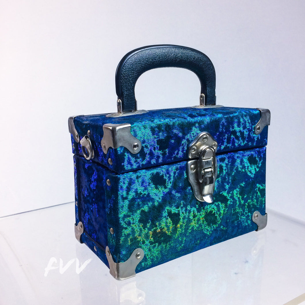 Vintage Iridescent Blue and Green Box Purse with Metal Hardware